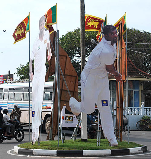 A giant hoarding of Muttiah Muralitharan in Galle's city center