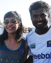 Muttiah Muralitharan poses with his wife Madhimalar, Sri Lanka v India, 1st Test, Galle, 5th day, July 22, 2010
