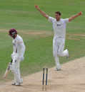 Chris Tremlett celebrates after uprooting Ben Howgego's off stump, Surrey v Northamptonshire, County Championship Division Two, The Oval, July 21, 2010