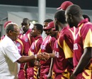 Everton Weekes meets the Leeward Islands team, Jamaica v Leeward Islands, Caribbean T20, 2nd match, July 22, 2010