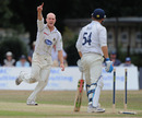 Michael Thornely celebrates uprooting Gareth Berg's middle stump, Middlesex v Sussex, County Championship Division Two, Uxbridge, July 23 2010