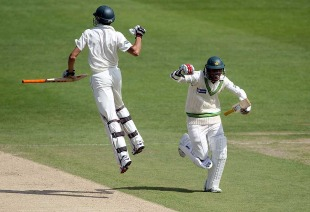 Umar Gul and Mohammad Amir celebrate the winning run as Pakistan held their nerve on the fourth morning at Headingley, Pakistan v Australia, 2nd Test, Headingley, 4th day, July 24, 2010