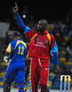 Nekoli Parris celebrates the end of Dwayne Smith, Barbados v Combined Colleges and Campuses, Caribbean T20, 4th match, July 23, 2010