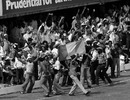 West Indies fans dance after Keith Boyce strikes a four