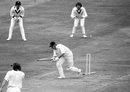 Opener Barry Wood is bowled by Gary Gilmour, England v Australia, World Cup semi-final, Leeds, June 18, 1975