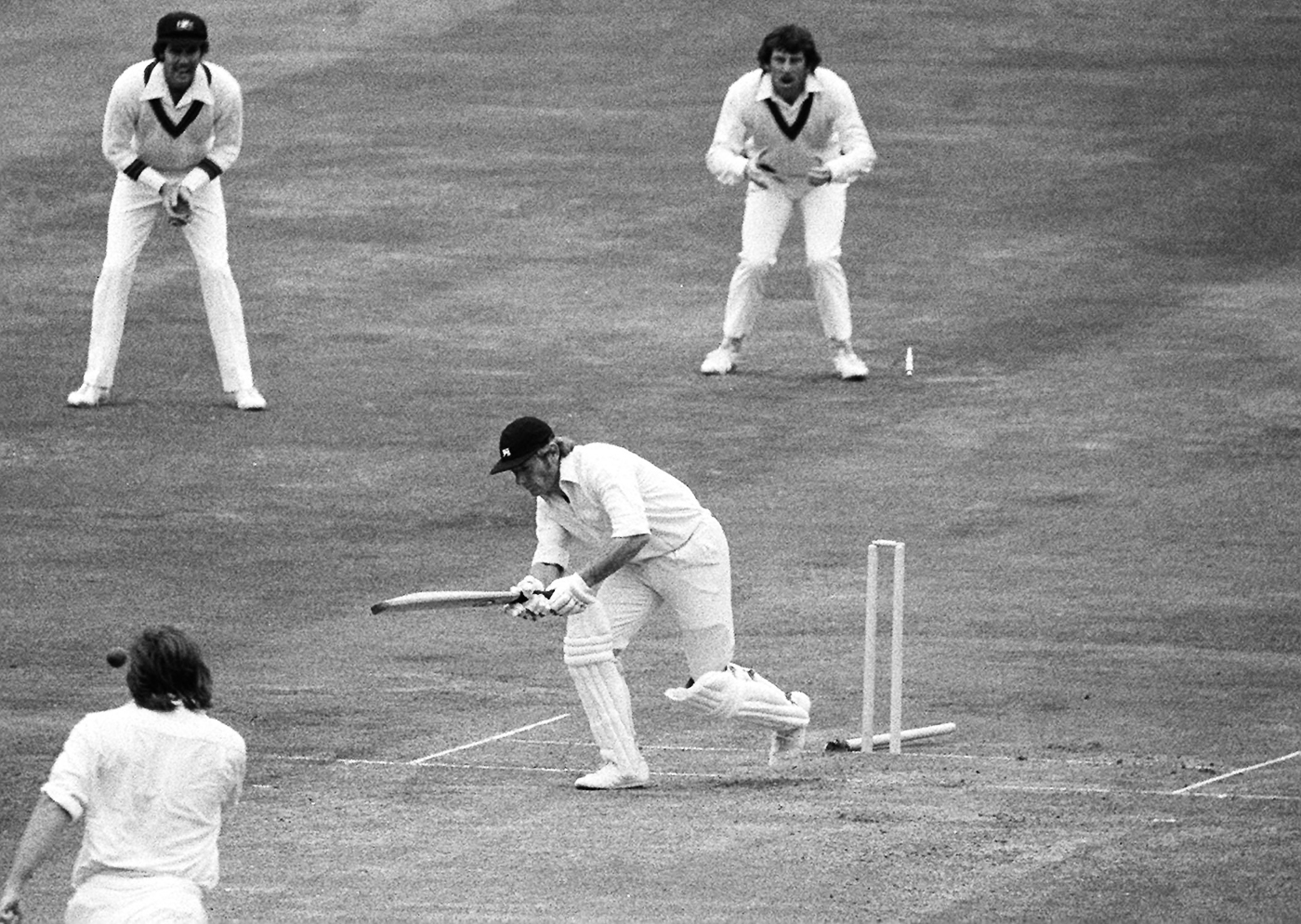 Opener Barry Wood is bowled by Gary Gilmour