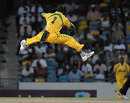 Nelon Pascal takes off after dismissing Ryan Hinds, Barbados v Windward Islands, Caribbean T20, Barbados, July 25, 2010