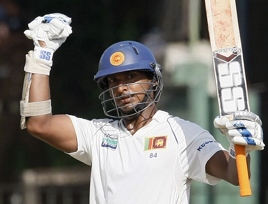 Kumar Sangakkara celebrates his 23rd Test century