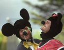 Allan Lamb and Robin Smith dressed as Mickey and Minnie Mouse