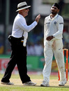 Daryl Harper shares a light moment with Harbhajan Singh, Sri Lanka v India, 2nd Test, SSC, 2nd day, July 27, 2010