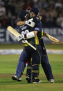 James Foster embraces Matt Walker after his matchwinning innings, Essex v Lancashire, Friends Provident t20 quarter-final, Chelmsford, July 27, 2010