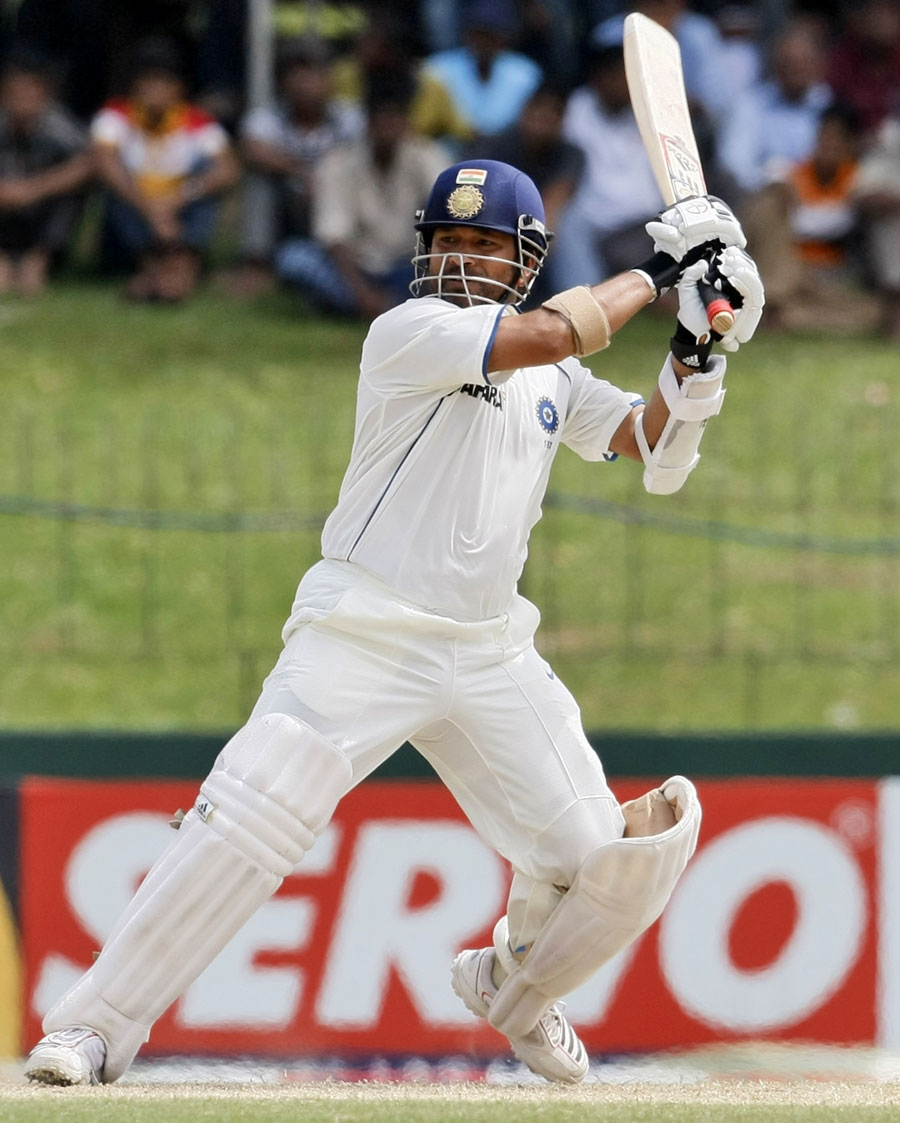 Sachin Tendulkar forces one through the off side