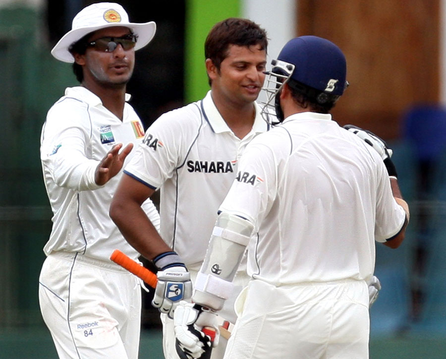 Kumar Sangakkara and Sachin Tendulkar applaud Suresh Raina's century on debut