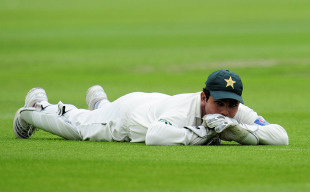 Kamran Akmal ponders the simple chance that he dropped to give Andrew Strauss a reprieve, England v Pakistan, 1st Test, Trent Bridge, July 29, 2010