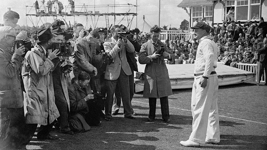 Don Bradman faces the camera