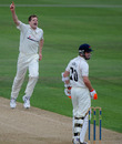 David Balcombe celebrates removing Paul Horton as Lancashire struggled at the Rose Bowl, Hampshire v Lancashire, County Championship, Division One, Rose Bowl, July 29, 2010