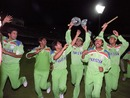 Pakistan's cricketers celebrate the victory, England v Pakistan, World Cup final, Melbourne, March 25 1992