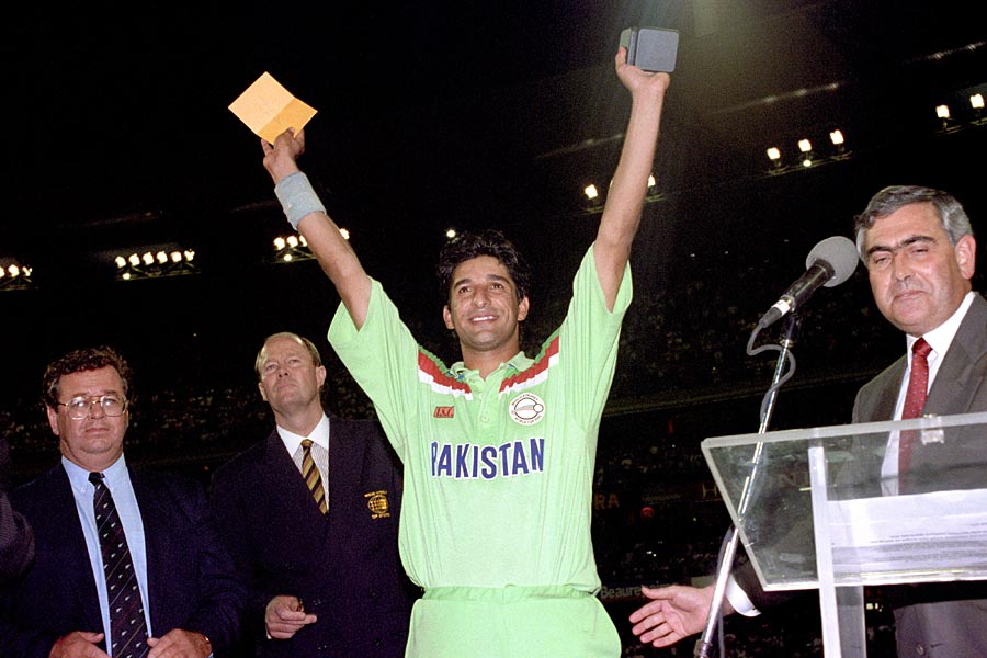 Wasim Akram with his Man-of-the-Match award
