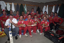 Zimbabwe celebrate their victory against England, England v Zimbabwe, World Cup, Melbourne, March 18, 1992