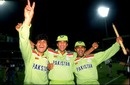 Wasim Akram and Aamer Sohail celebrate the victory, England v Pakistan, World Cup final, Melbourne, March 25, 1992