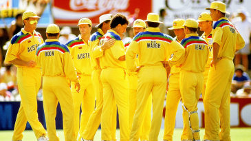 The Australians celebrate a wicket