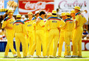The Australians celebrate a wicket, Australia v Sri Lanka, World Cup, Adelaide, March 7, 1992