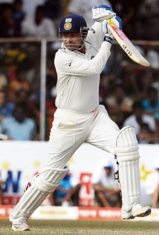 Virender Sehwag scores through the off side, Sri Lanka v India, 3rd Test, P Sara Oval, 2nd day, August 4, 2010