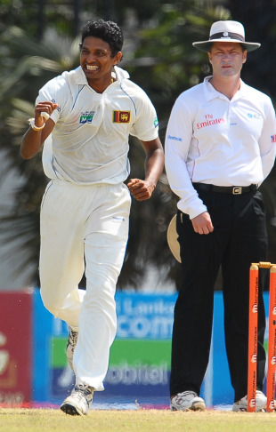 Suraj Randiv reacts after dismissing Ishant Sharma, Sri Lanka v India, 3rd Test, P Sara Oval, 5th day, August 7, 2010