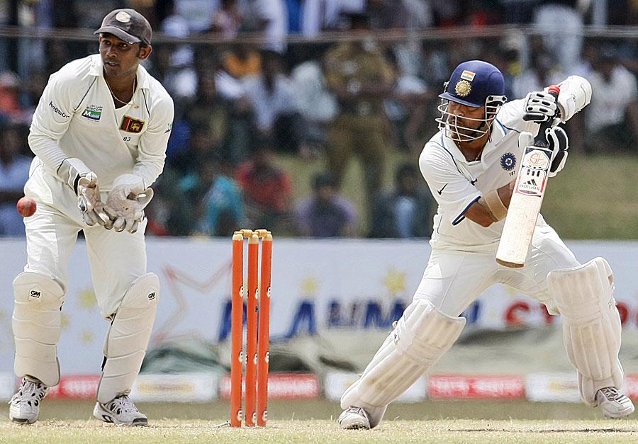 Sachin Tendulkar steers one away as Prasanna Jayawardene looks on