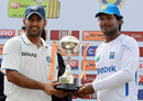 MS Dhoni and Kumar Sangakkara pose with the series trophy, Sri Lanka v India, 3rd Test, P Sara Oval, 5th day, August 7, 2010