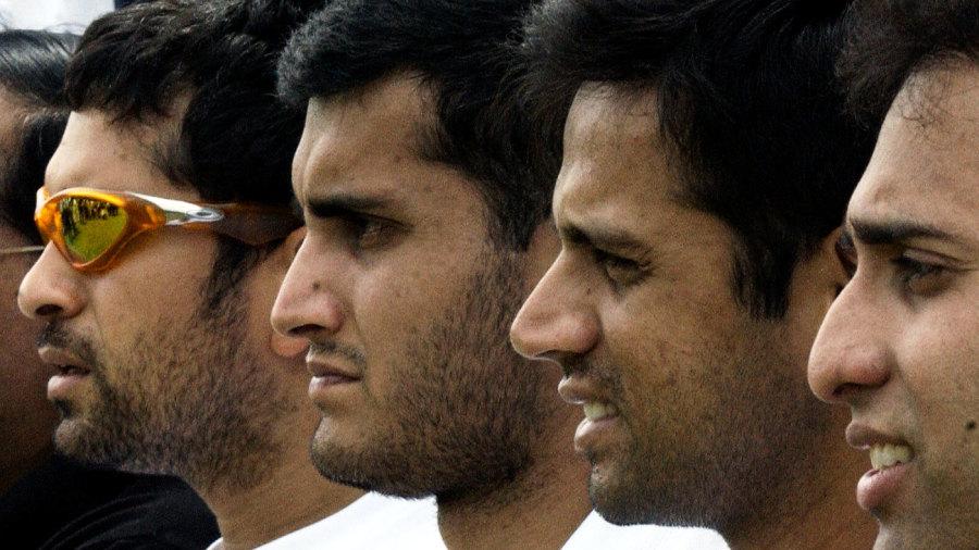 Fab Four: Sachin Tendulkar, Sourav Ganguly, Rahul Dravid and VVS Laxman pose for photos