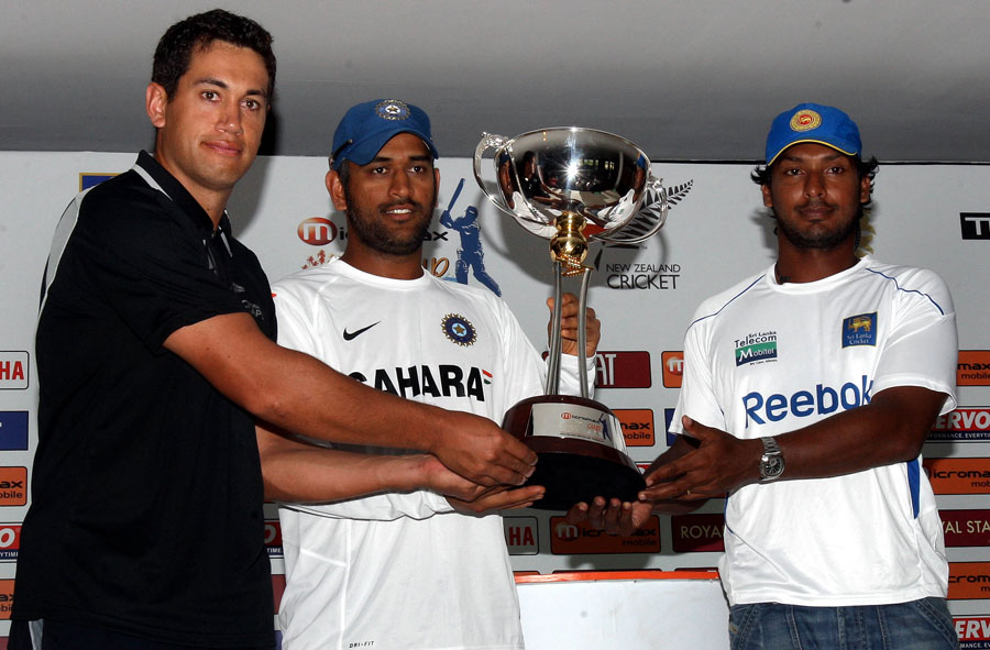 Ross Taylor, MS Dhoni and Kumar Sangakkara pose with the trophy ahead of the tri-series