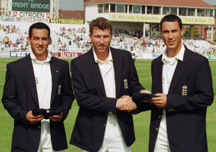 Michael Atherton awards Test caps to brothers Adam (left) and Ben Hollioake, England v Australia, 5th Test, Trent Bridge, 1st day, August 7, 2010