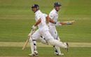 Jonathan Trott and Andrew Strauss shared an undefeated stand of 111 to take England over the line, England v Pakistan, 2nd Test, Edgbaston, August 9, 2010
