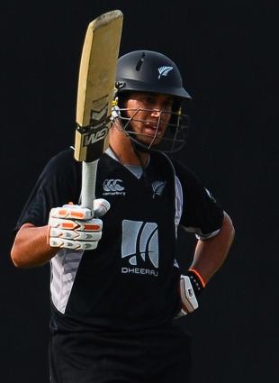 Ross Taylor celebrates his half-century, India v New Zealand, tri-series, 1st ODI, August 10, 2010