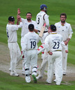 Steve Harmison is congratulated by his team-mates after removing  Glen Chapple, Lancashire v Durham, County Championship, Division One, Old Trafford, August 10, 2010