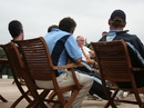 Mike Gatting speaks to members of Argentina's national cricket team, August 10, 2010