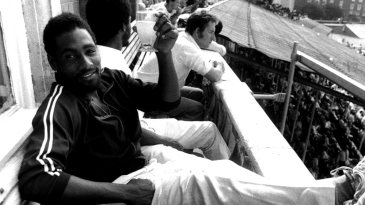Viv Richards relaxing with a cold drink after his 291