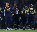 Hampshire celebrate after edging home in an extraordinary finish at the Rose Bowl