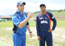 Italy captain Alessandro Bonora and Nepal captain Paras Khadka at the toss ahead of their ICC WCL Division Four match, Italy v Nepal, ICC World Cricket League Division Four, Pianoro, August 15, 2010