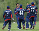 Nepal bowler Binod Das celebrates a dismissal with his team-mates, Italy v Nepal, ICC World Cricket League Division Four, Pianoro, August 15, 2010
