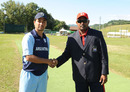 Argentina captain Esteban MacDermott and Cayman Islands captain Saheed Mohamed shake hands ahead of the toss, Argentina v Cayman Islands, ICC World Cricket League Division Four, Pianoro, August 16, 2010