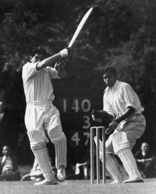 Dattu Phadkar bats during a match against the Indian Gymkhana Club at Osterly Park, April 30, 1952