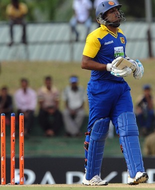 Chamara Kapugedera was bowled for 10, Sri Lanka v India, tri-series, 3rd ODI, Dambulla, August 16, 2010