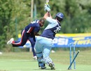 Lucas Paterlini is bowled by Marlon Bryan, Argentina v Cayman Islands, ICC World Cricket League Division Four, Pianoro, August 16, 2010
