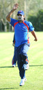 Nepal's Mahaboob Alam warms up, Nepal v Tanzania, ICC WCL Div. 4, Medicina, August 17 2010