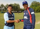 Captains Esteban MacDermott and Paras Khadka at the toss, Argentina v Nepal, ICC World Cricket League Division 4, Navile, August 18, 2010