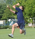 Agustin Casime bowls during practice, ICC World Cricket League Division 4, Navile, August 18, 2010