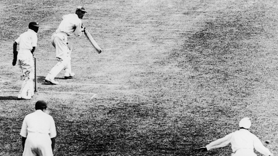 Douglas Jardine edges a ball from Amar Singh past slips