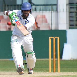 Dimuth Karunaratne drives down the ground, Sri Lanka A v South Africa A, 2nd unofficial Test, SSC, August 18, 2010